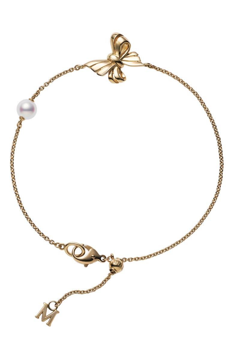 MIKIMOTO Ribbon Pearl Bracelet, Main, color, YELLOW GOLD/ PEARL
