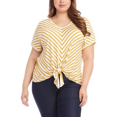 Plus Size Karen Kane Mitered Stripe Tie Front Top, Yellow