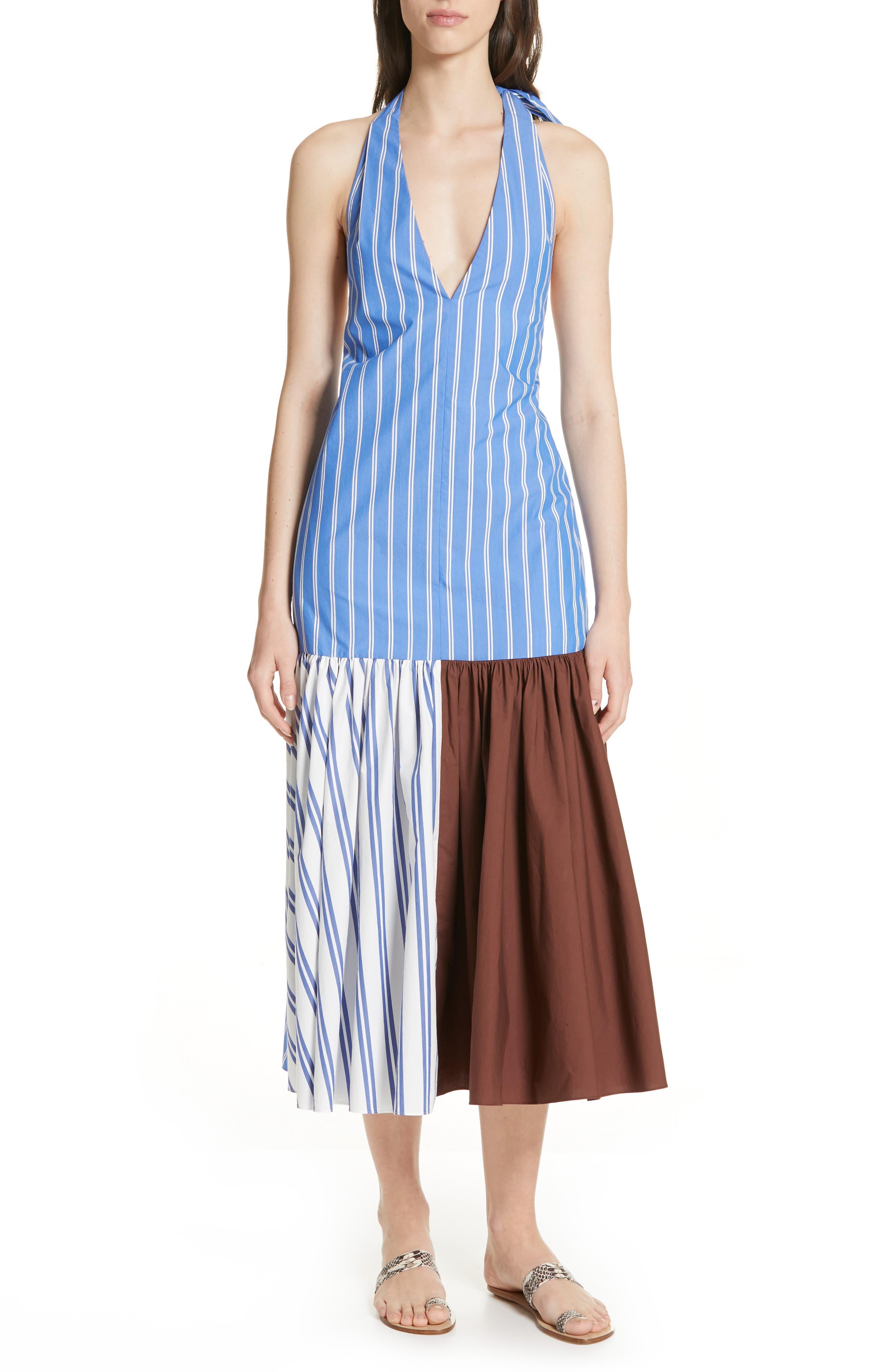 Tibi Vivian Stripe Halter Midi Dress, Blue