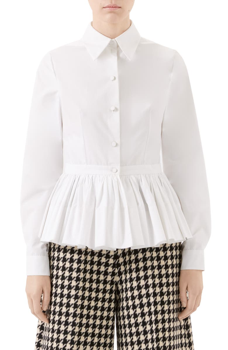 Gucci Peplum Cotton Poplin Top