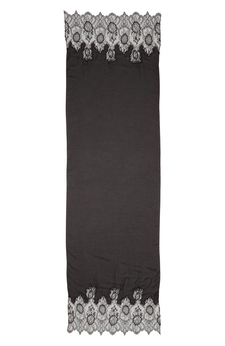 VALENTINO Lace Trim Modal & Cashmere Scarf, Main, color, NERO/ NERO