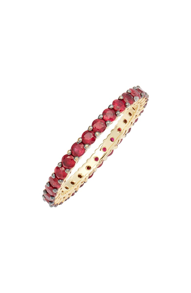 BONY LEVY Ruby Eternity Band Ring, Main, color, YELLOW GOLD