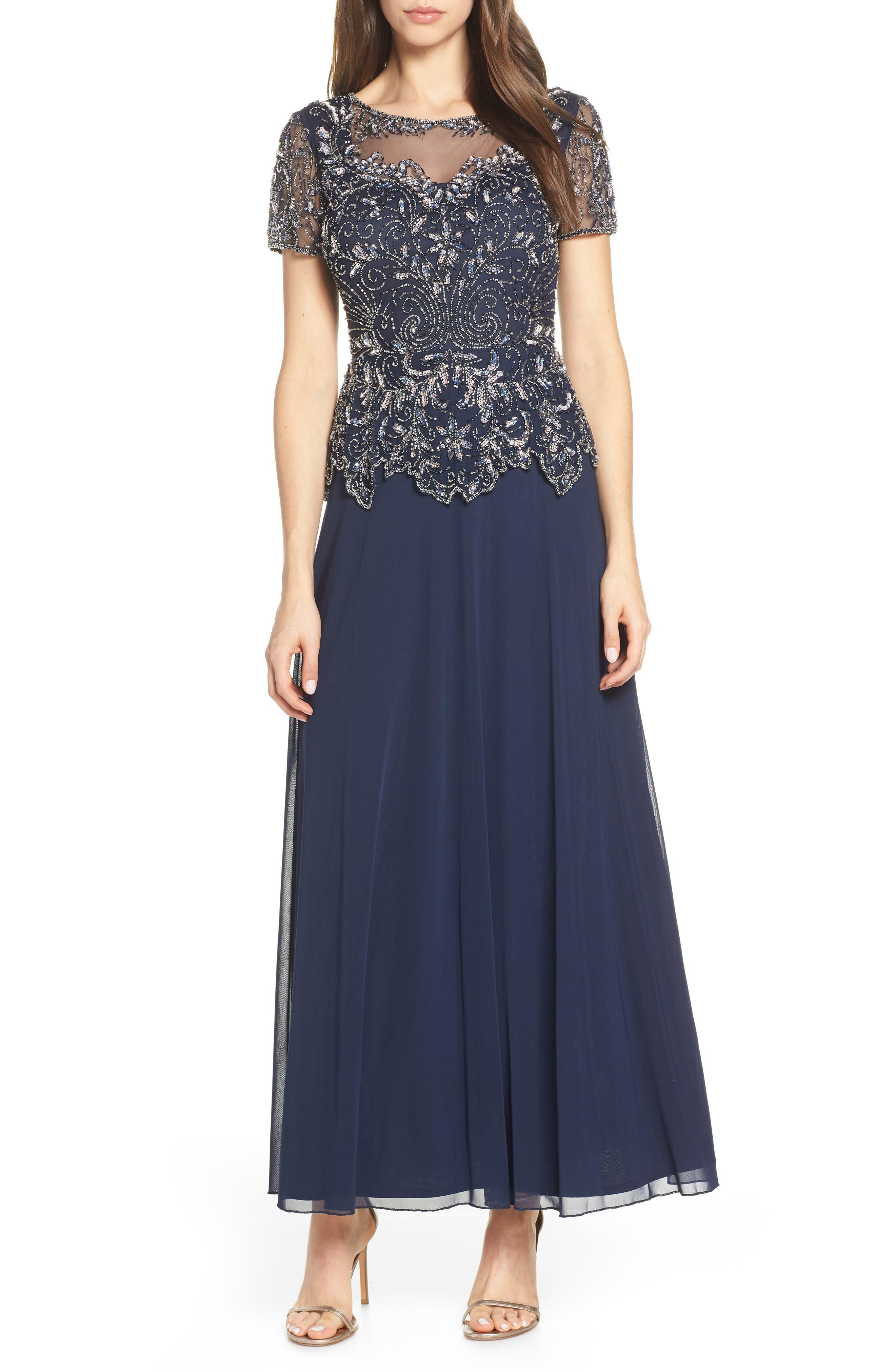 Pisarro Nights Embellished Mesh Bodice Evening Dress, Blue
