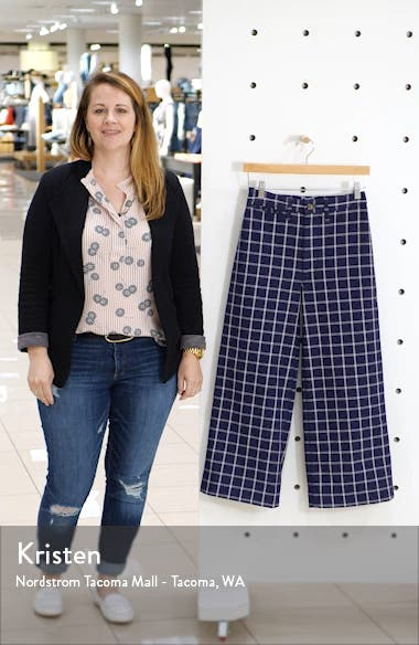 Emmett Windowpane Plaid Crop Wide Leg Pants, sales video thumbnail