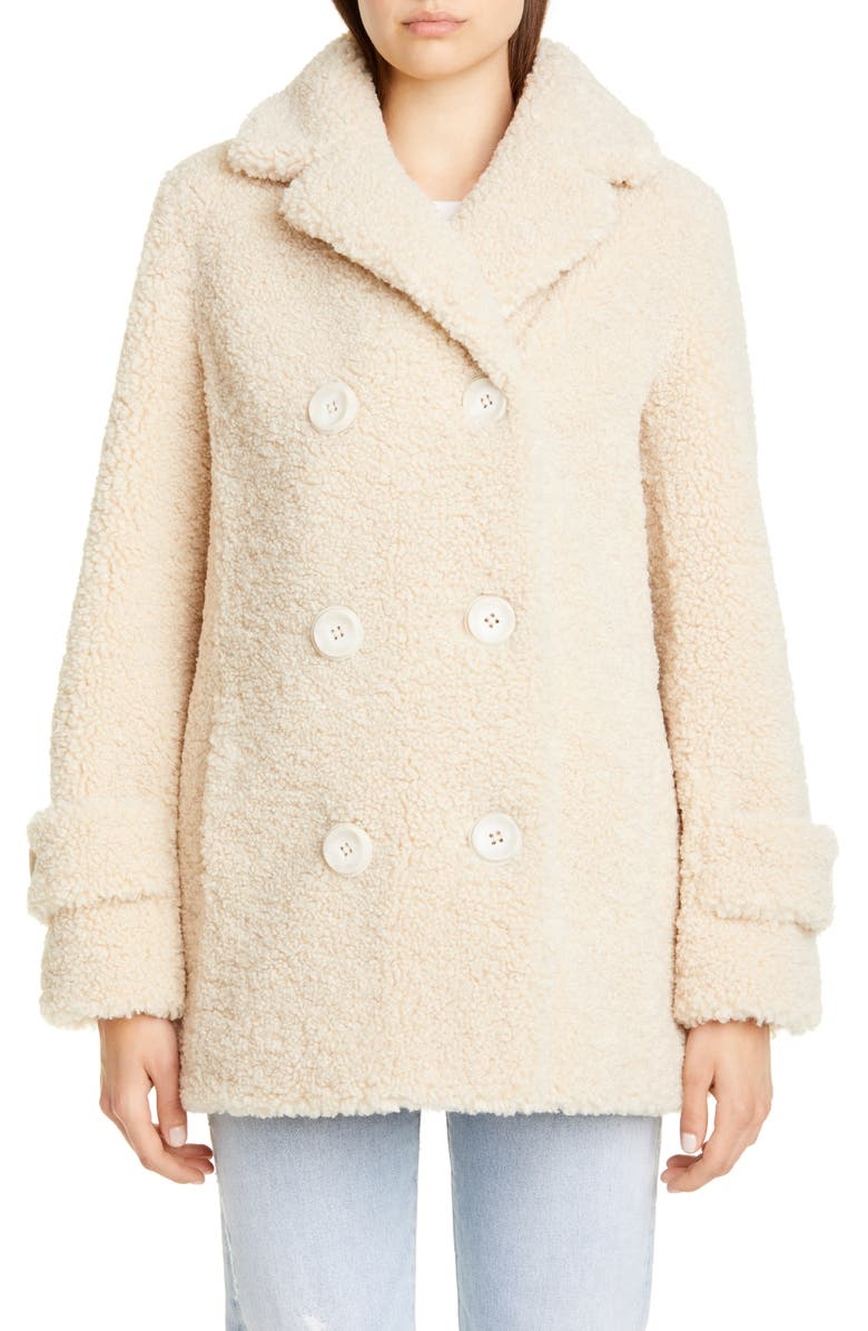 STAND STUDIO Lou Teddy Faux Fur Peacoat, Main, color, 900