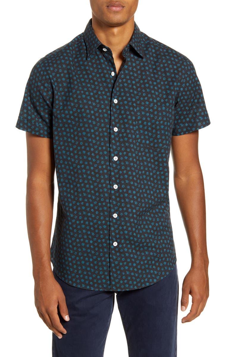 RODD & GUNN Bayview Road Regular Fit Floral Short Sleeve Button-Up Shirt, Main, color, NAVY