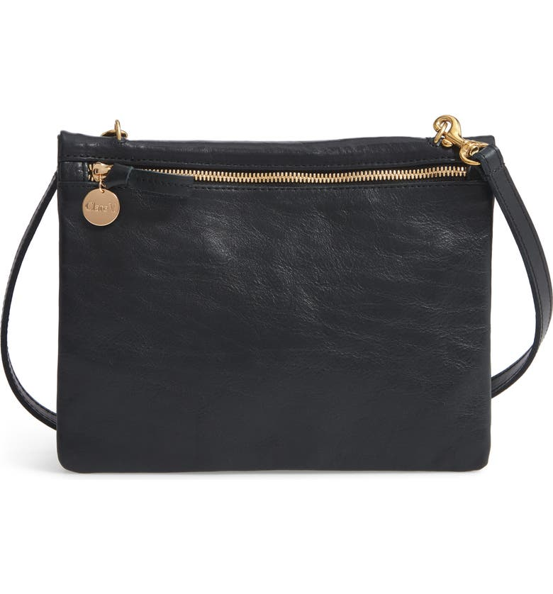CLARE V. Jumelle Leather Crossbody Bag, Main, color, 001