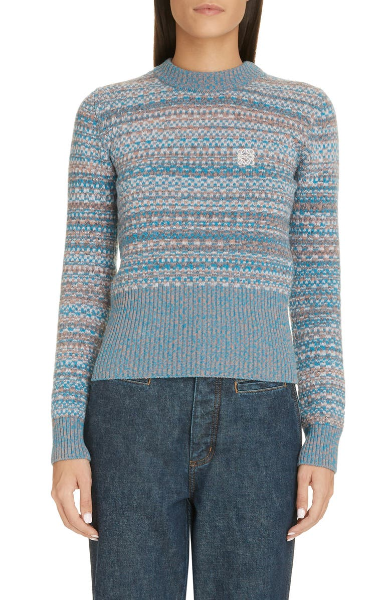 LOEWE Anagram Logo Wool Jacquard Sweater, Main, color, BLUE