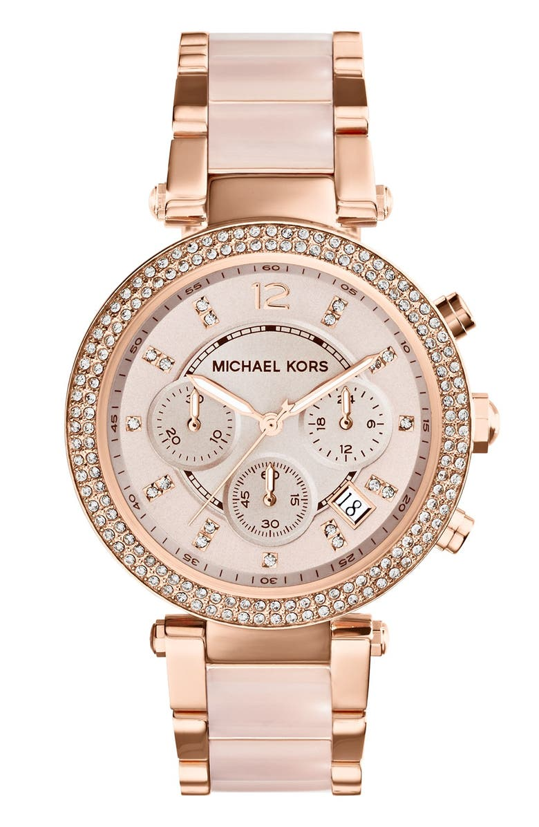 MICHAEL KORS 'Parker' Blush Acetate Link Chronograph Watch, 39mm, Main, color, ROSE GOLD/ BLUSH