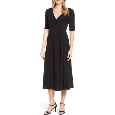 Chaus Laura Faux Wrap Midi Dress, Black