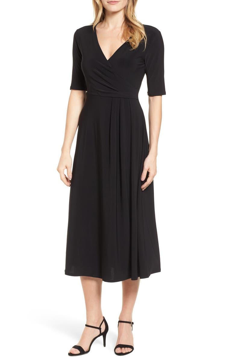 CHAUS Laura Faux Wrap Midi Dress, Main, color, 060-RICH BLACK
