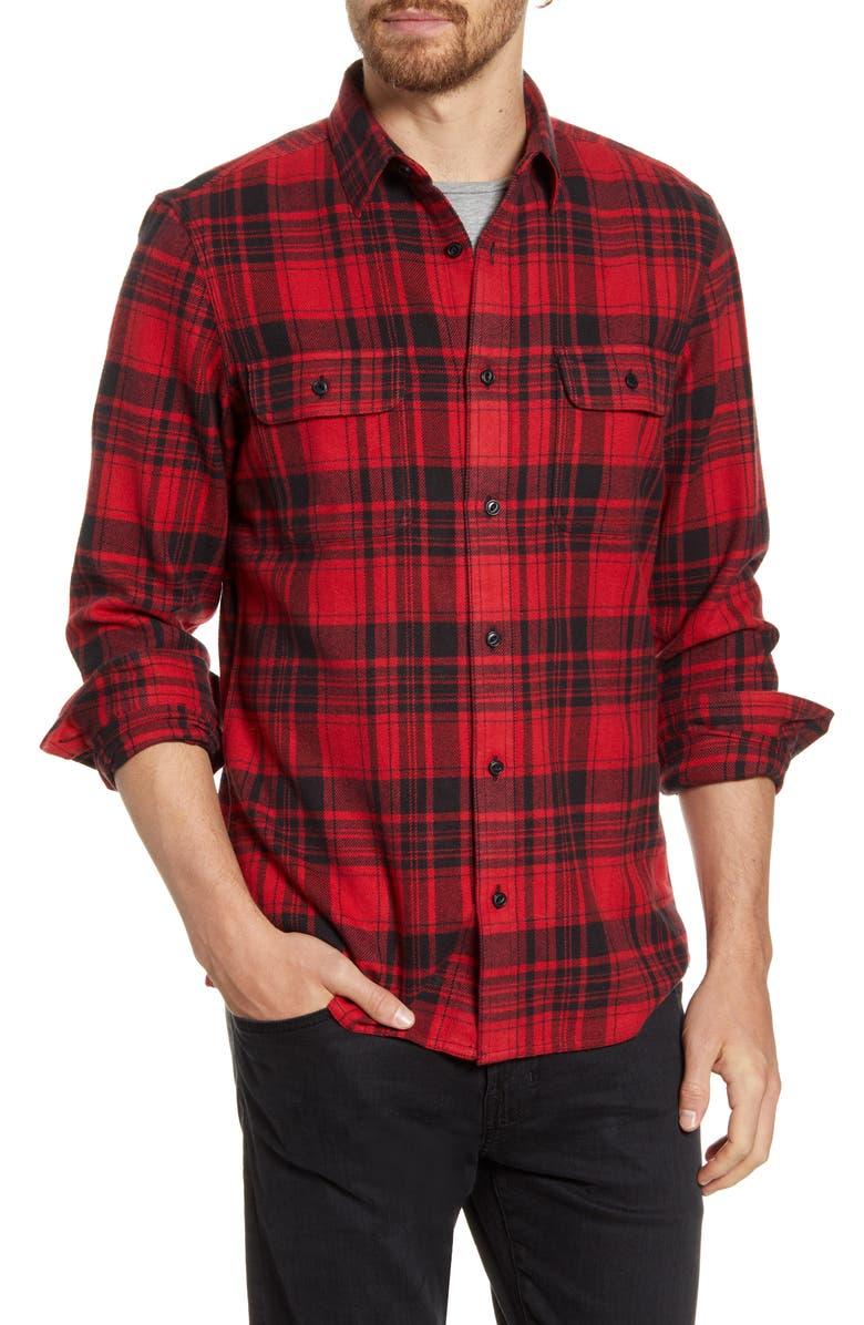 1901 Trucker Trim Fit Plaid Flannel Button-Up Shirt, Main, color, RED BLACK BRICK PLAID