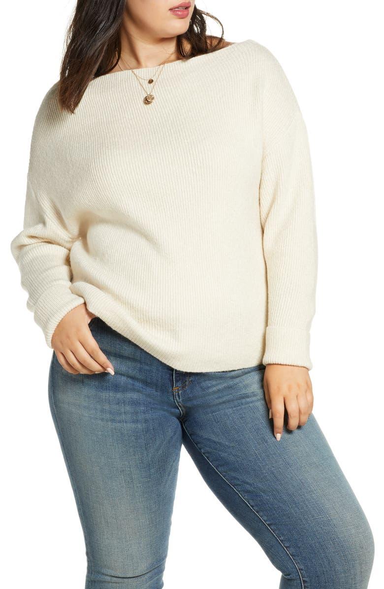 TREASURE & BOND Off the Shoulder Pullover, Main, color, BEIGE OATMEAL LIGHT HEATHER