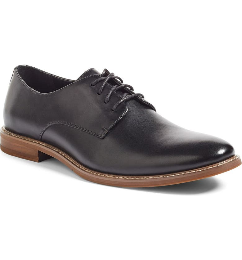 THE RAIL Everett Plain Toe Derby, Main, color, BLACK LEATHER