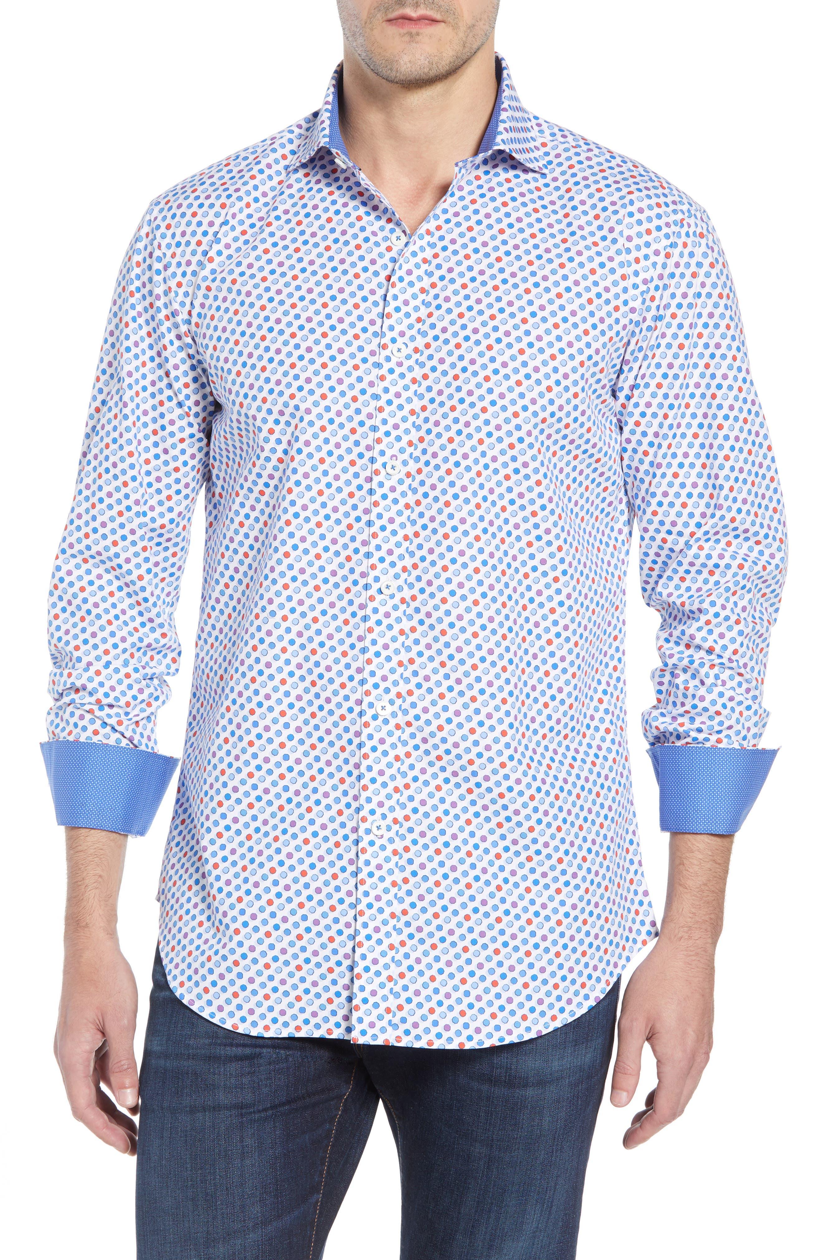 men's bugatchi shaped fit dot print shirt