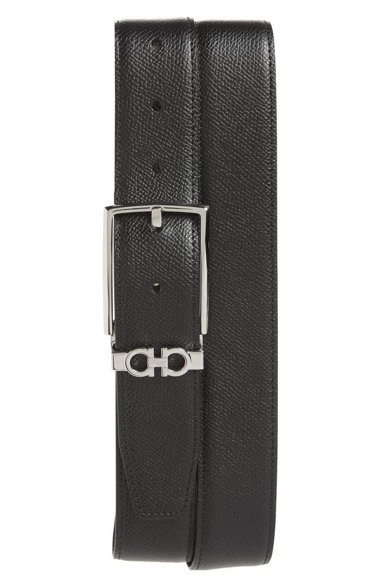 SALVATORE FERRAGAMO Reversible Leather Belt, Main, color, NERO / T.MORO