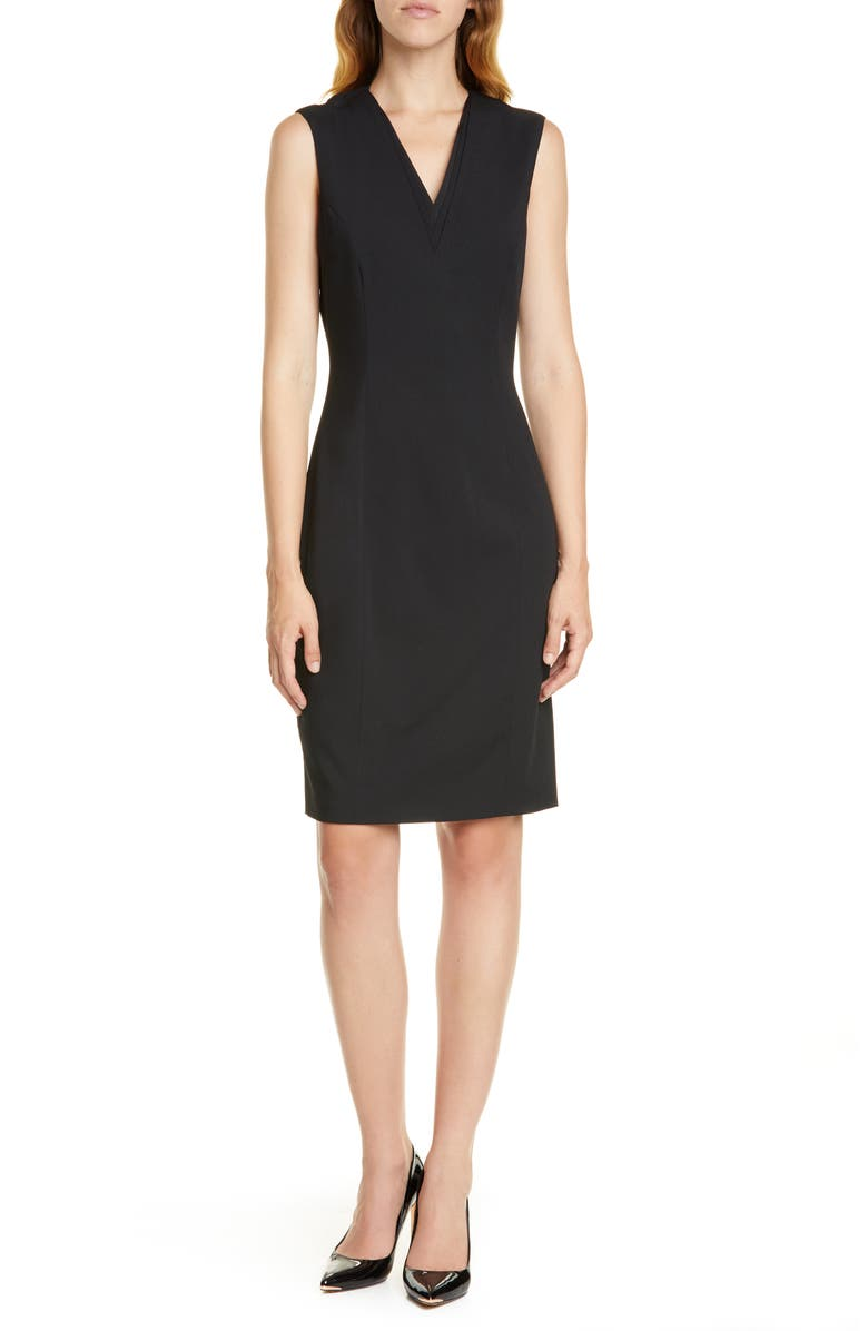 TED BAKER LONDON Sleeveless Wool Blend Sheath Dress, Main, color, BLACK