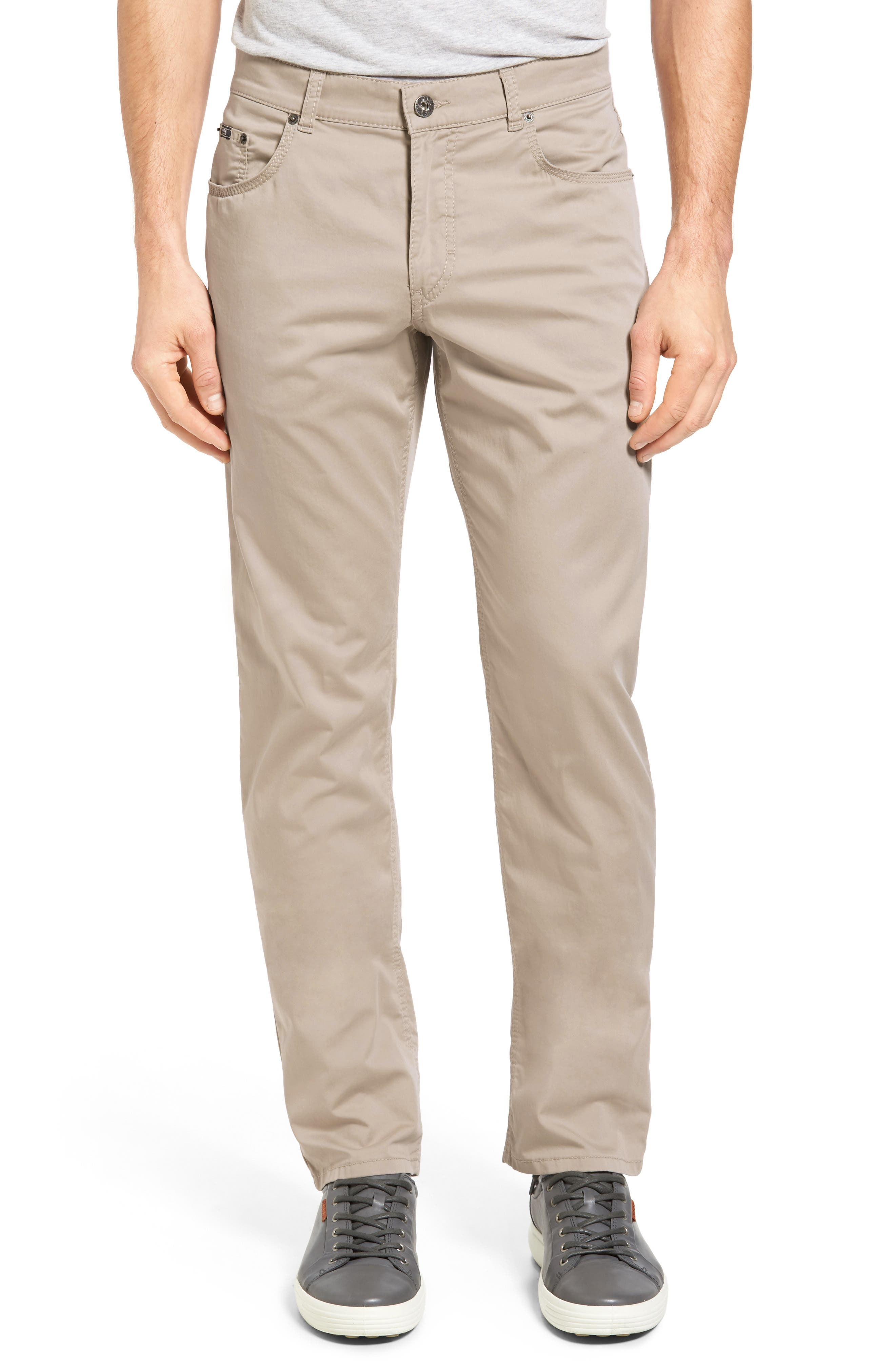 Cool accent stitching touches up laid-back pants shaped from more than 26 miles of stretch Pima cotton yarn for a supreme fit. Style Name: Brax Cooper Prestige Straight Leg Stretch Cotton Pants. Style Number: 5260862 2. Available in stores.