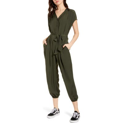All In Favor V-Neck Jumpsuit, Green