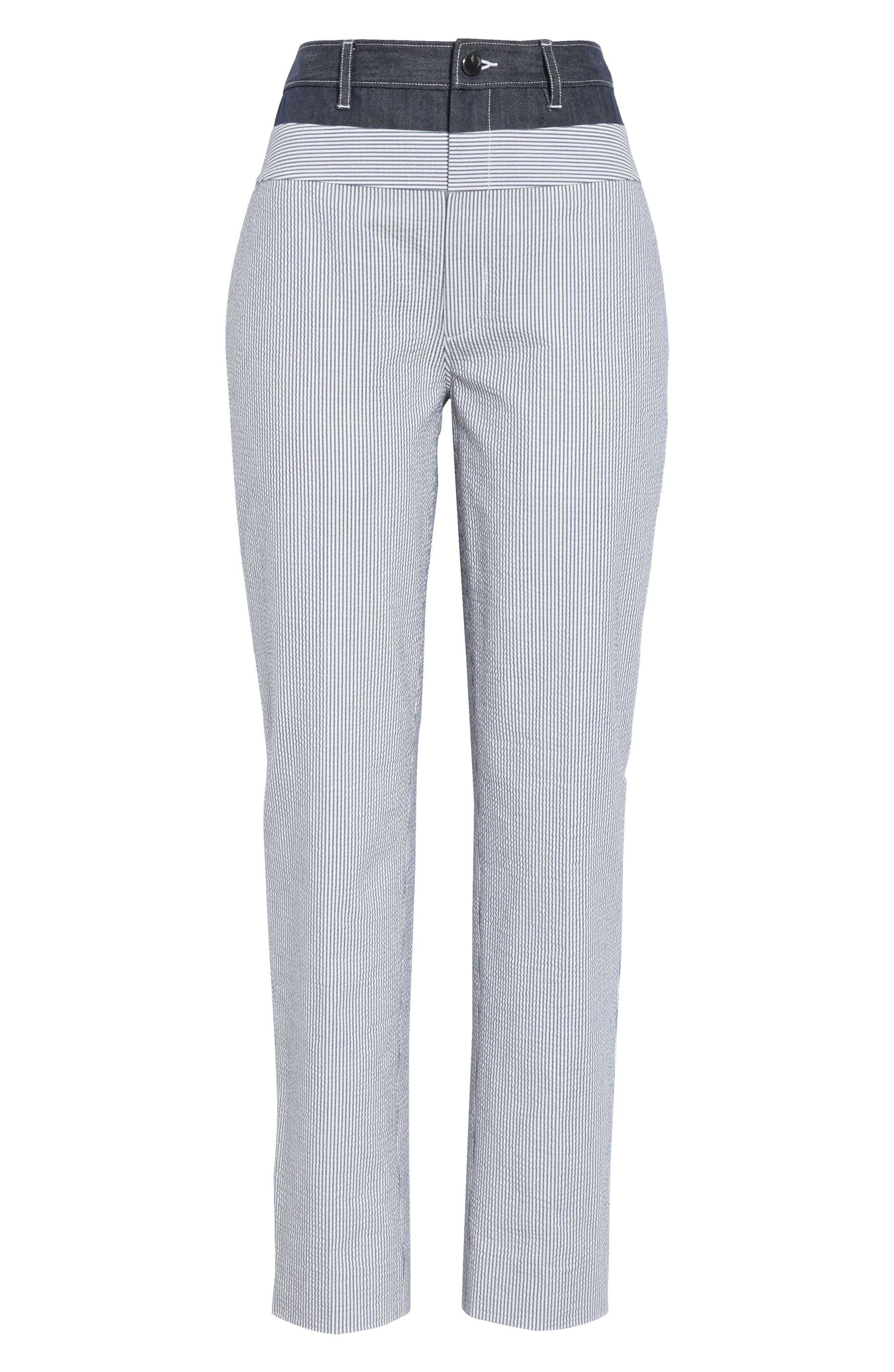 ,                             Denim & Seersucker Pants,                             Alternate thumbnail 6, color,                             TWILIGHT/ STAR WHITE