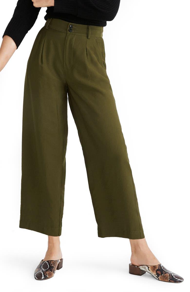 MADEWELL Drapey Pleated Wide Leg Pants, Main, color, KALE