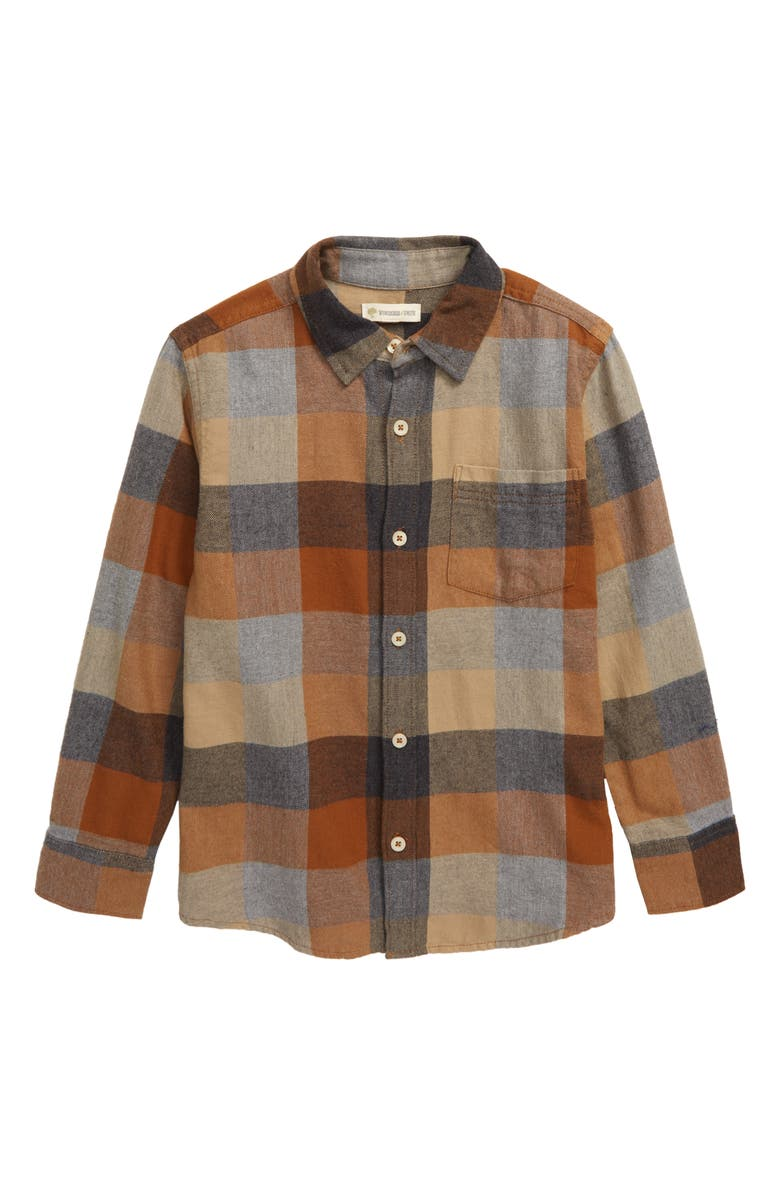 TUCKER + TATE My Favorite Check Flannel Shirt, Main, color, BROWN RUBBER WEEKEND PLAID