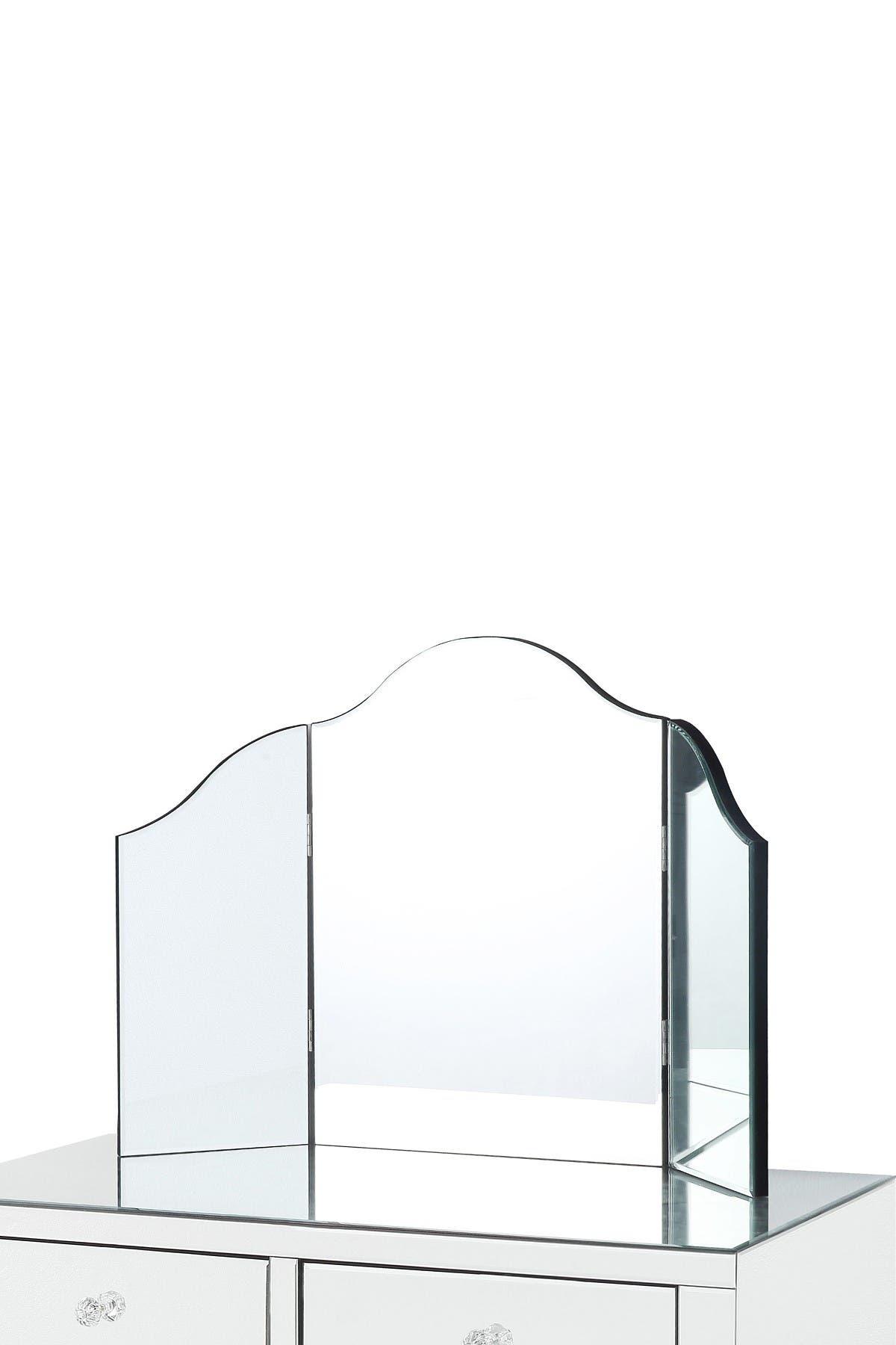 Image of Inspired Home Mokella Frameless Modern Contemporary Tri-Fold Tabletop Vanity Mirror