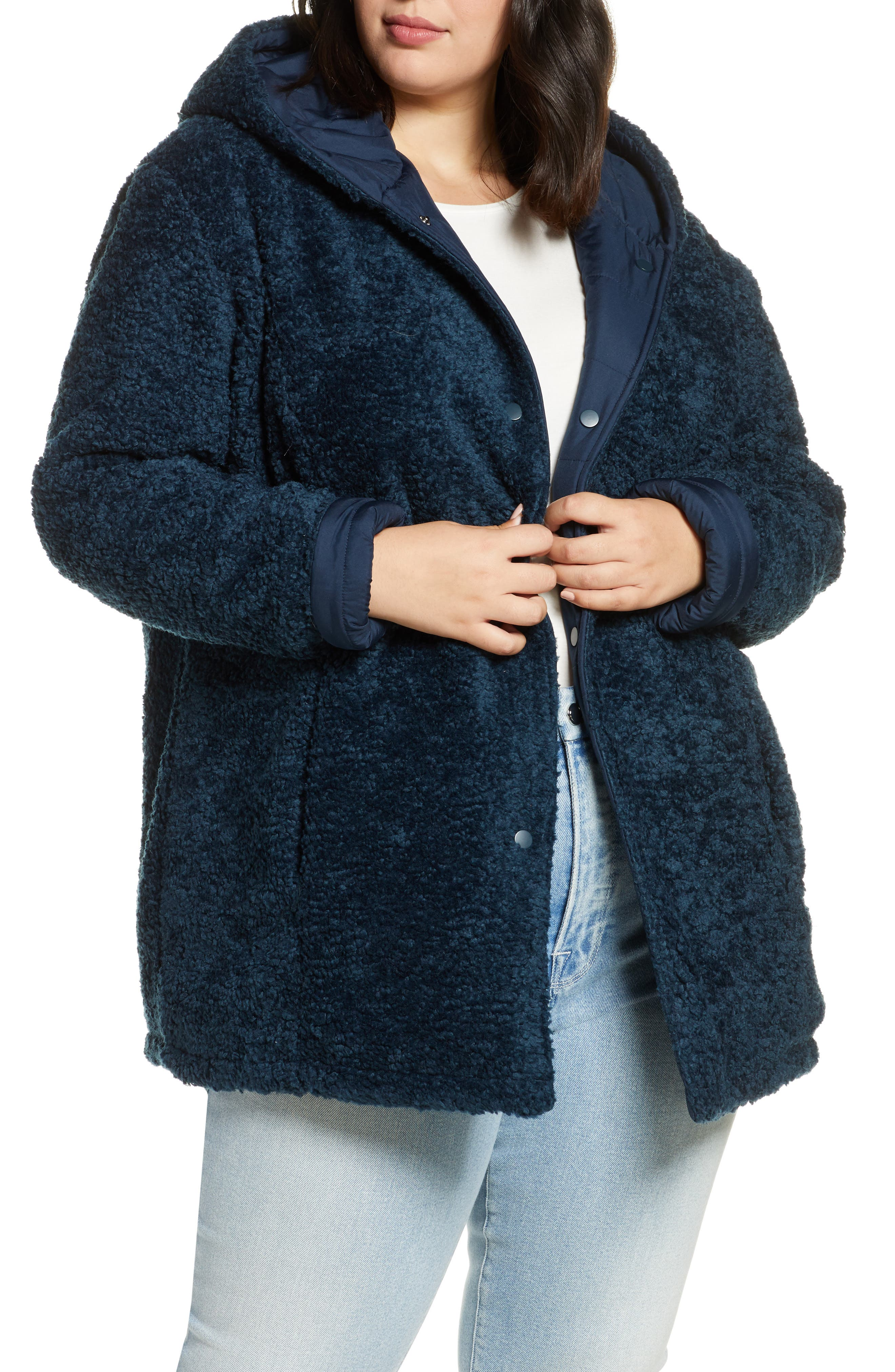 Image of Halogen Reversible Faux Fur Hooded Coat