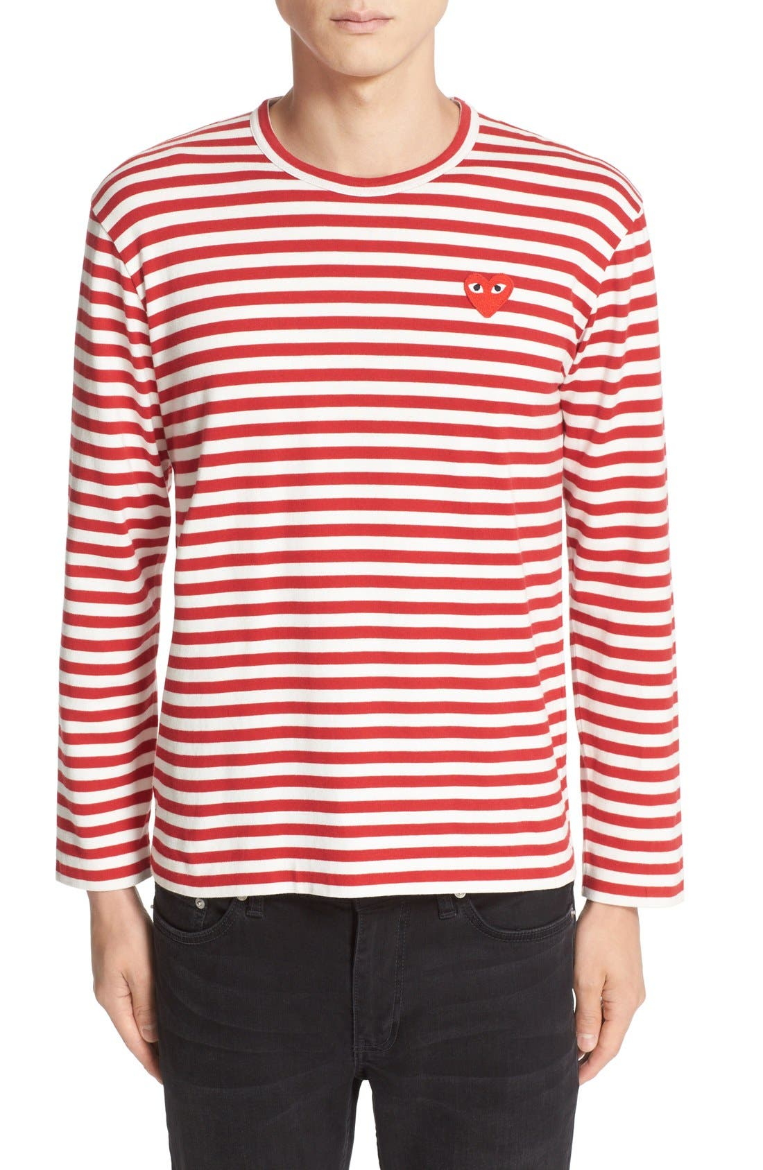 ,                             Stripe Slim Fit Long Sleeve T-Shirt,                             Main thumbnail 1, color,                             RED/ WHITE