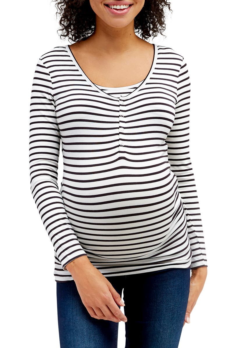 NOM MATERNITY Ruched Long Sleeve Maternity/Nursing Top, Main, color, BLACK AND WHITE STRIPE