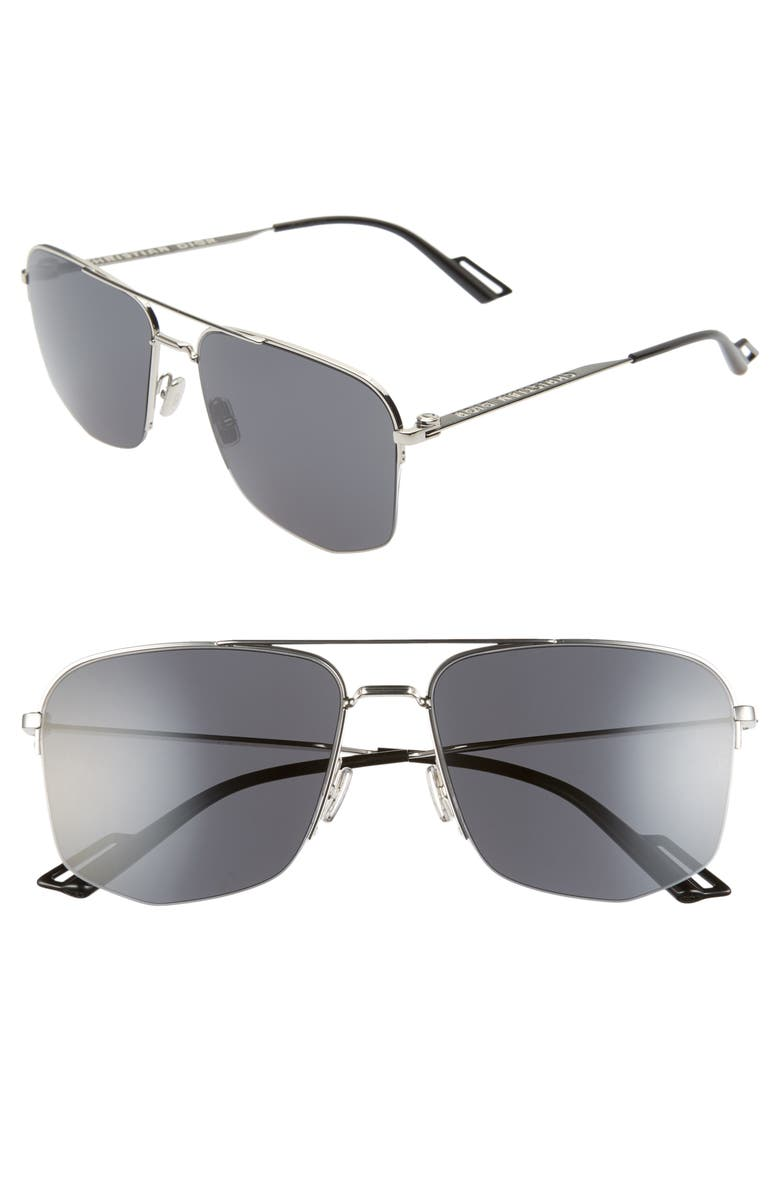 DIOR 60mm Navigator Sunglasses, Main, color, PALLADIUM BLACK/ GREY BLUE