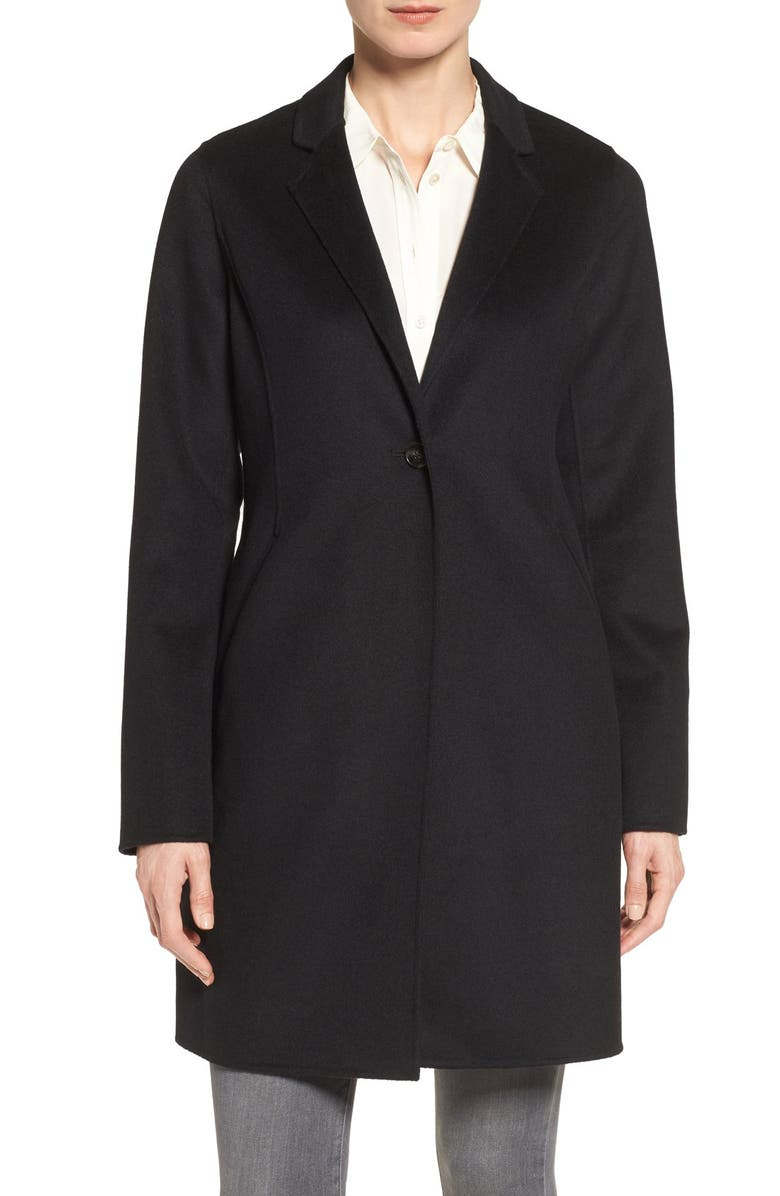 MICHAEL MICHAEL KORS Double Face Wool Blend Coat, Main, color, 001