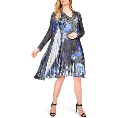 Petite Komarov Floral Tiered Chiffon Dress With Long Sleeve Jacket, Blue