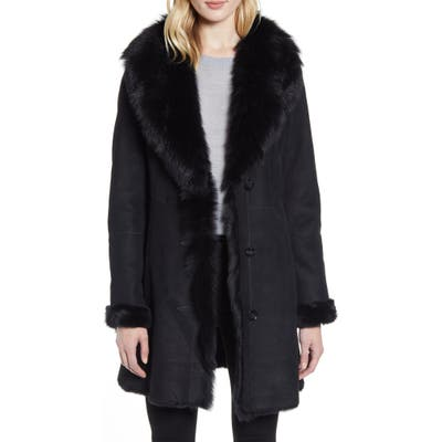 Hiso Sancy Shawl Collar Genuine Shearling Coat, Black