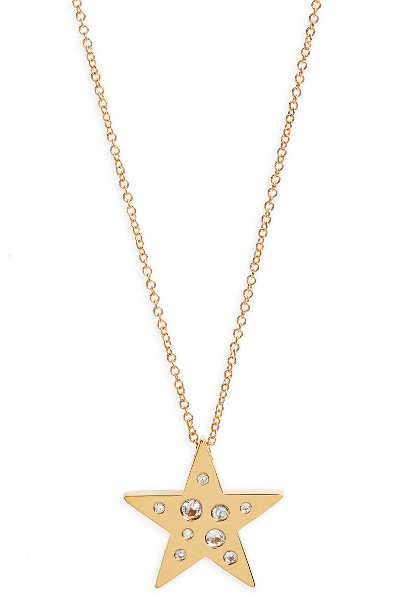 EF COLLECTION Diamond Speckle Star Pendant Necklace, Main, color, YELLOW GOLD