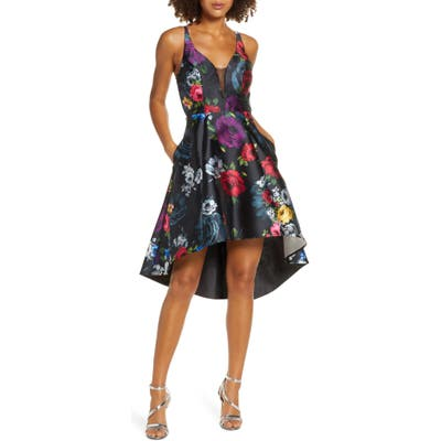 Sequin Hearts Floral Print High/low Mikado Cocktail Dress, Black