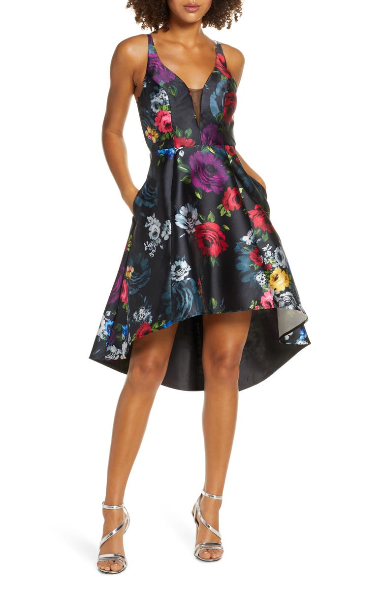 SEQUIN HEARTS Floral Print High/Low Mikado Cocktail Dress, Main, color, BLACK/ MULTI