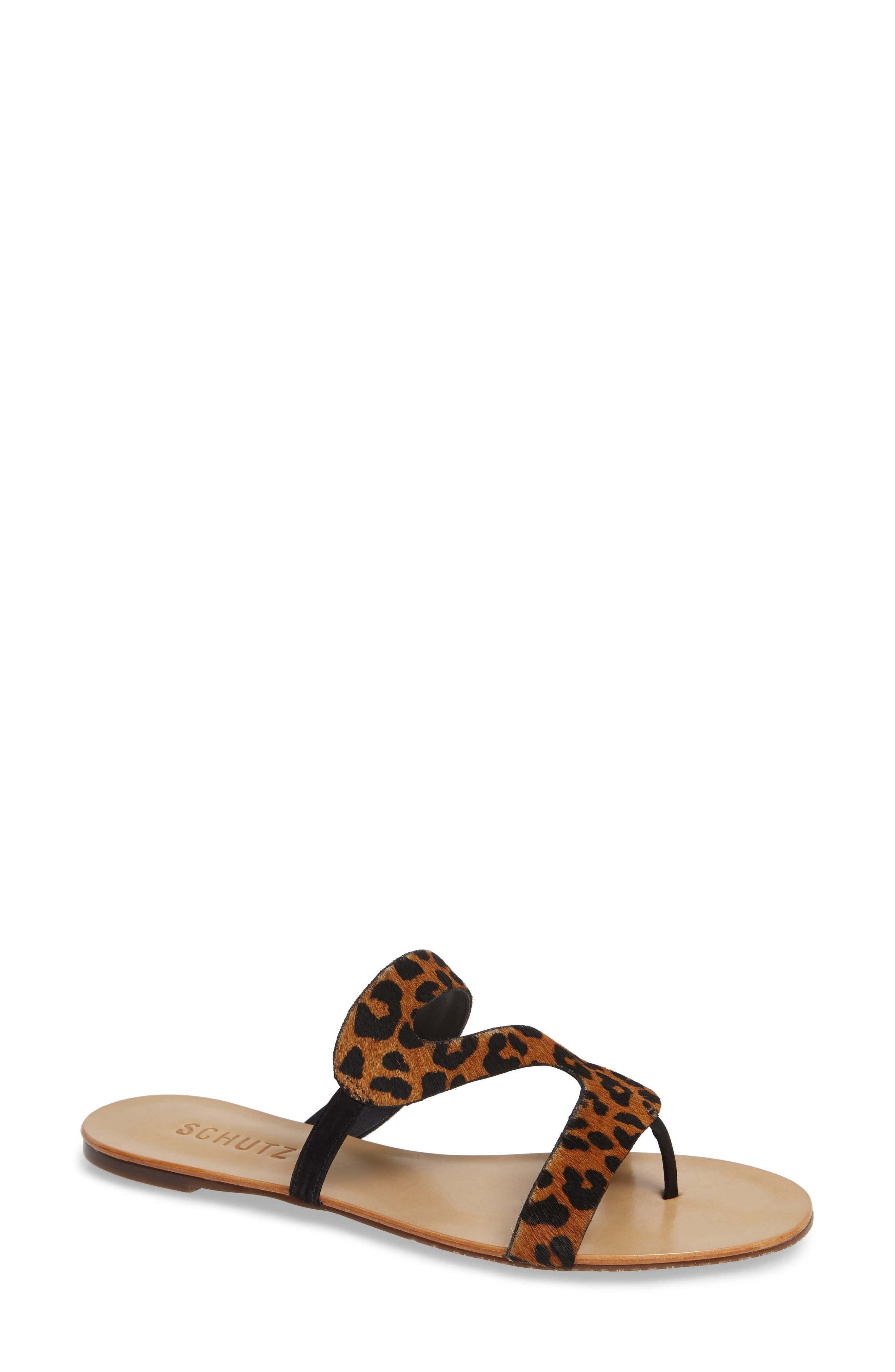 Schutz Erzeli Genuine Calf Hair Slide Sandal, Black
