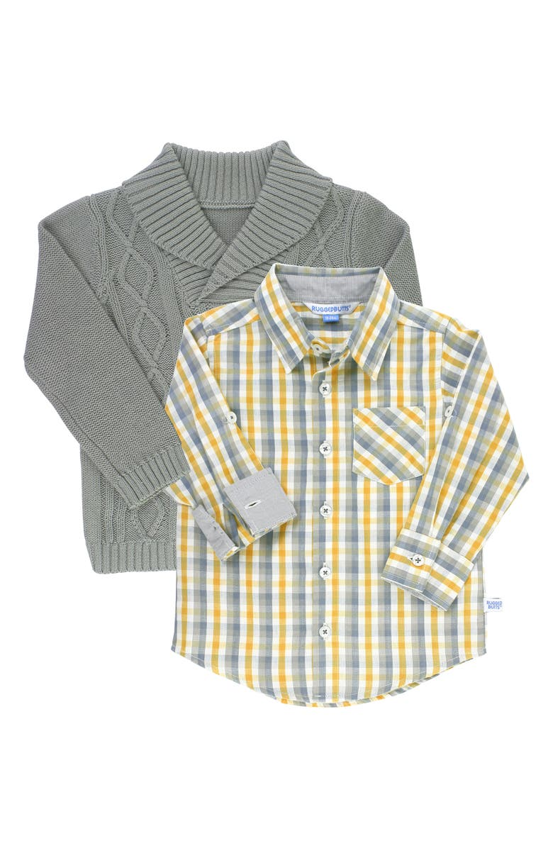 RuggedButts Cable Knit Sweater Plaid Shirt Set Baby