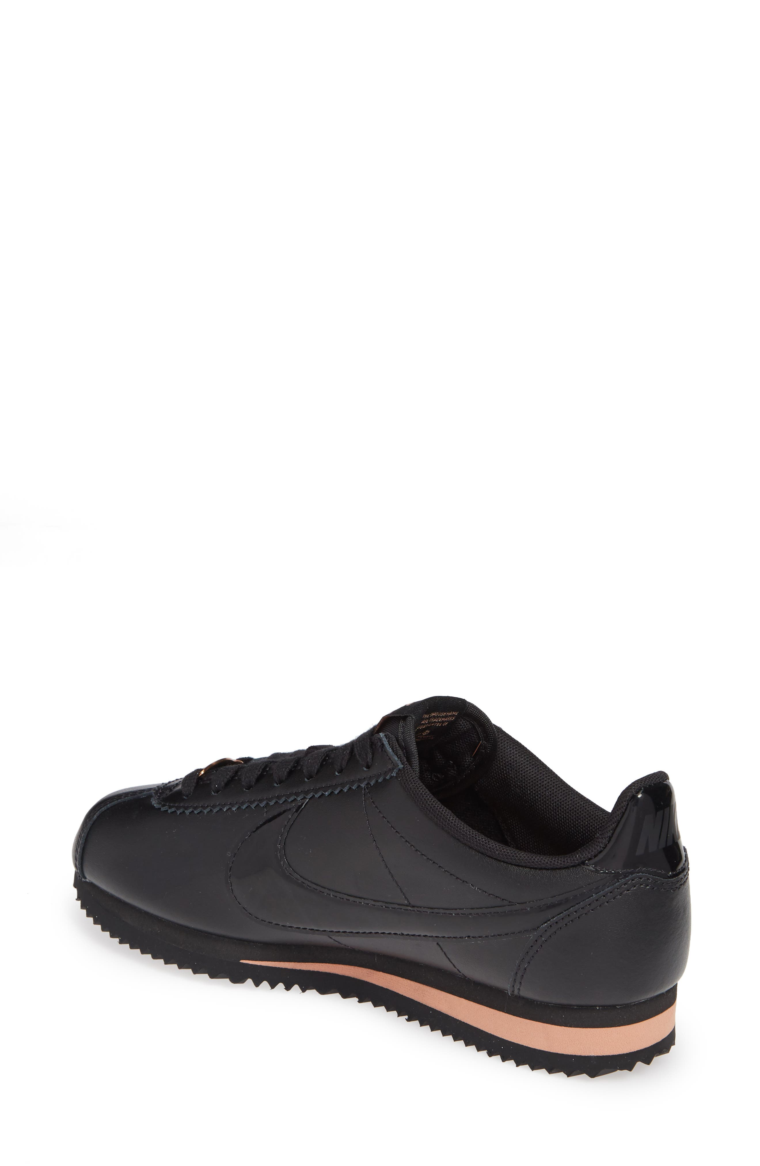 ,                             Classic Cortez Premium XLV Sneaker,                             Alternate thumbnail 2, color,                             BLACK/ BLACK/ ROSE GOLD