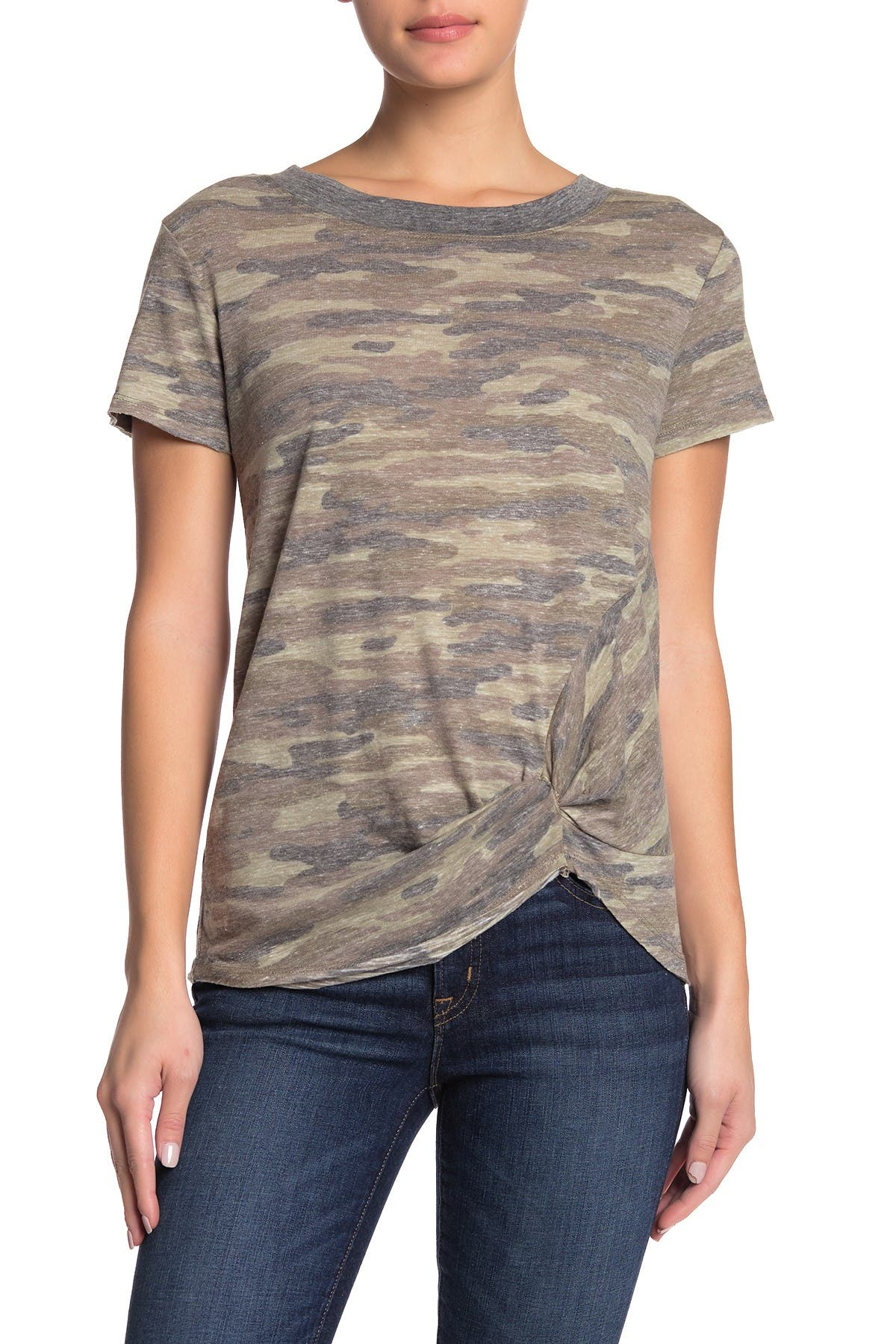 Image of C & C California Twist Hem Camo Print Ringer T-Shirt