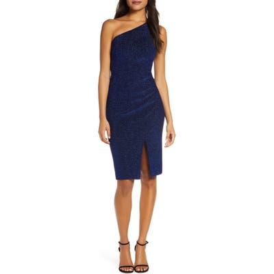 Vince Camuto One-Shoulder Glitter Knit Body-Con Dress, Blue