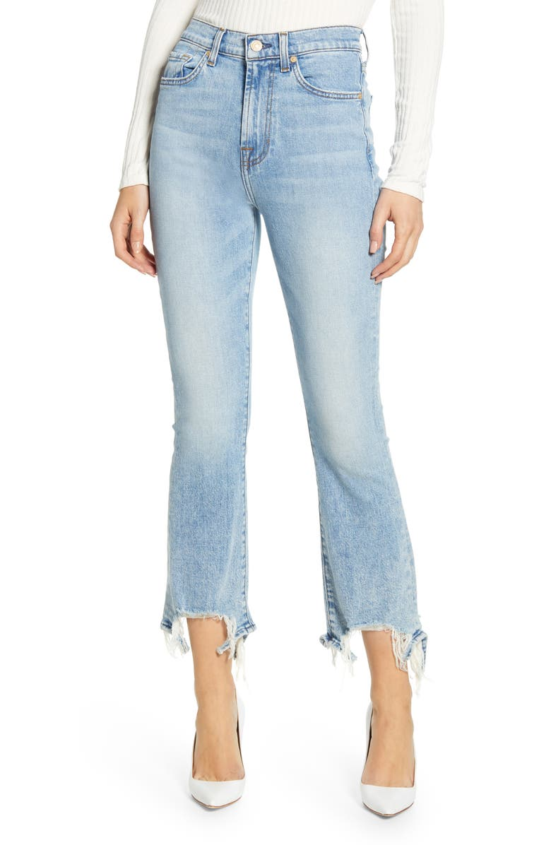 7 FOR ALL MANKIND<SUP>®</SUP> High Waist Destroyed Hem Kick Crop Slim Jeans, Main, color, VAIL