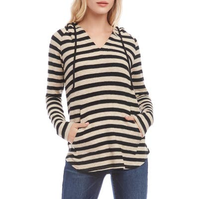 Karen Kane Brushed Stripe Hoodie, Black