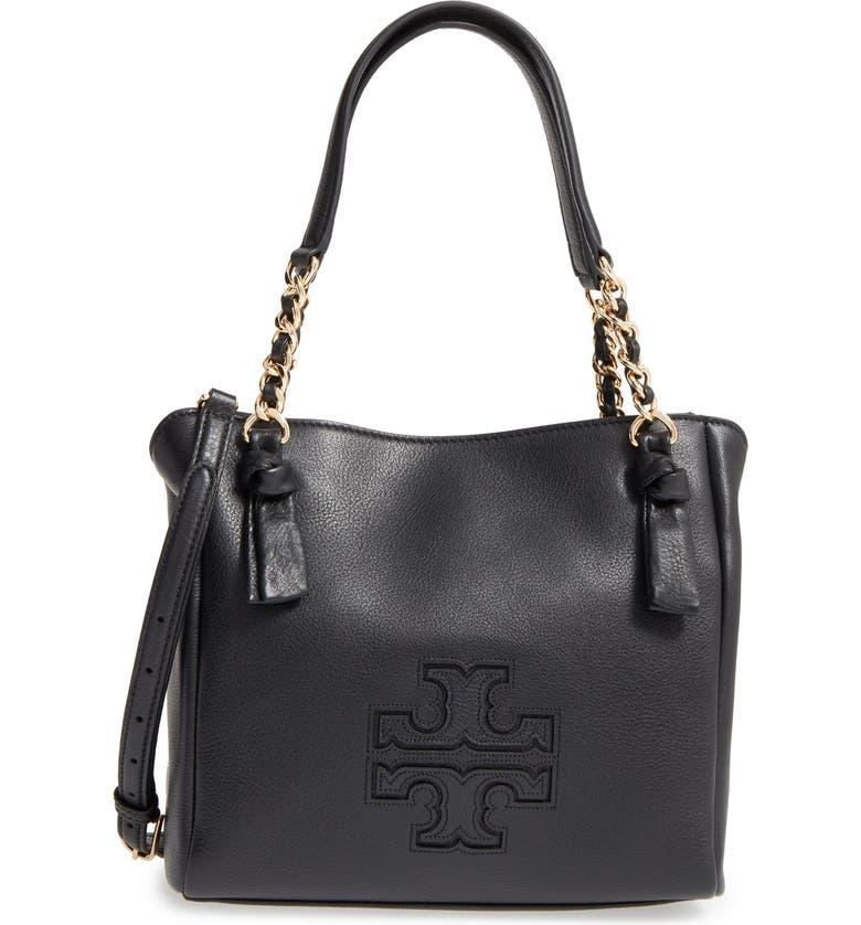 TORY BURCH Small Harper Leather Satchel, Main, color, 001