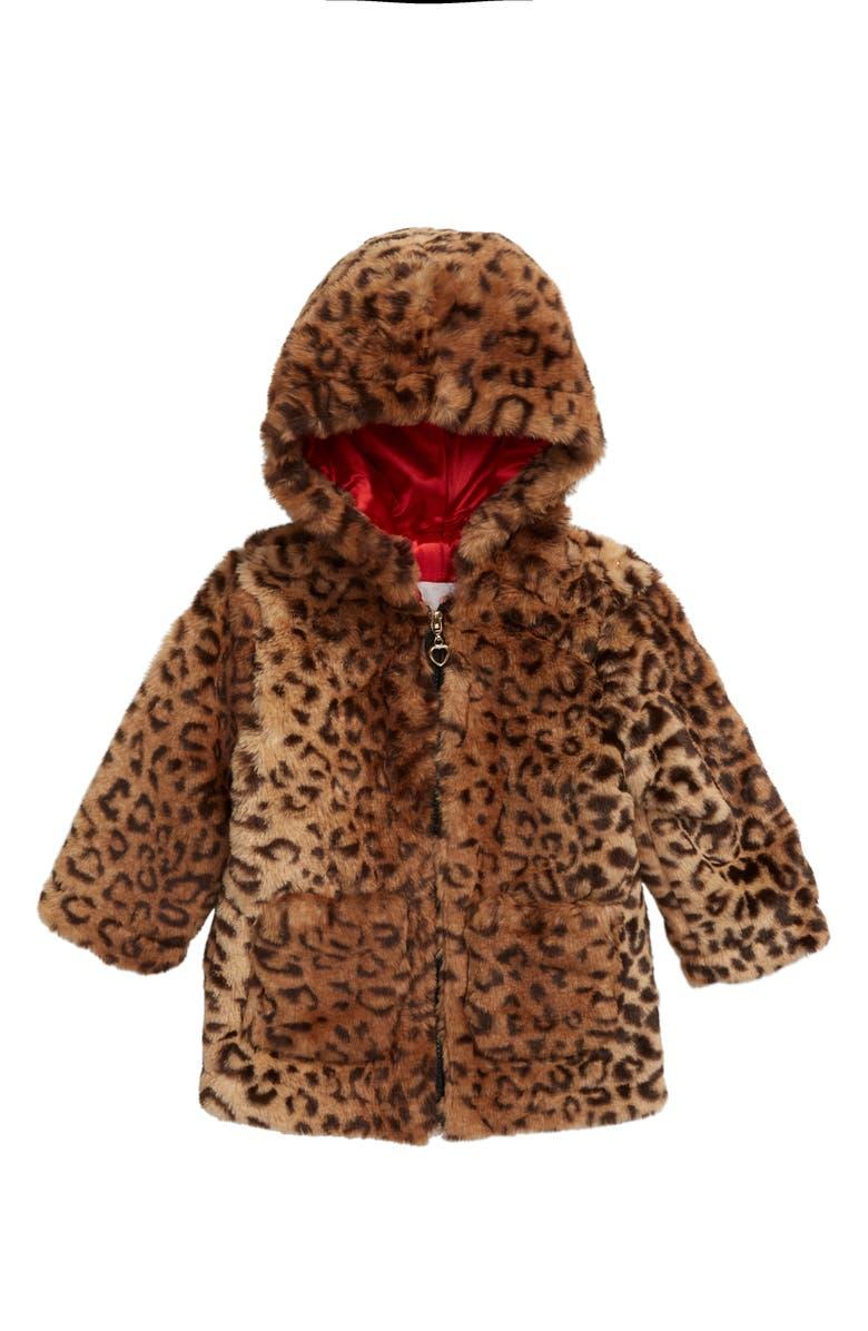 URBAN REPUBLIC Hooded Faux Fur Jacket, Main, color, 250