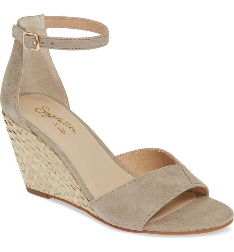SEYCHELLES Dual Purpose Wedge Ankle Strap Sandal, Main, color, TAUPE SUEDE