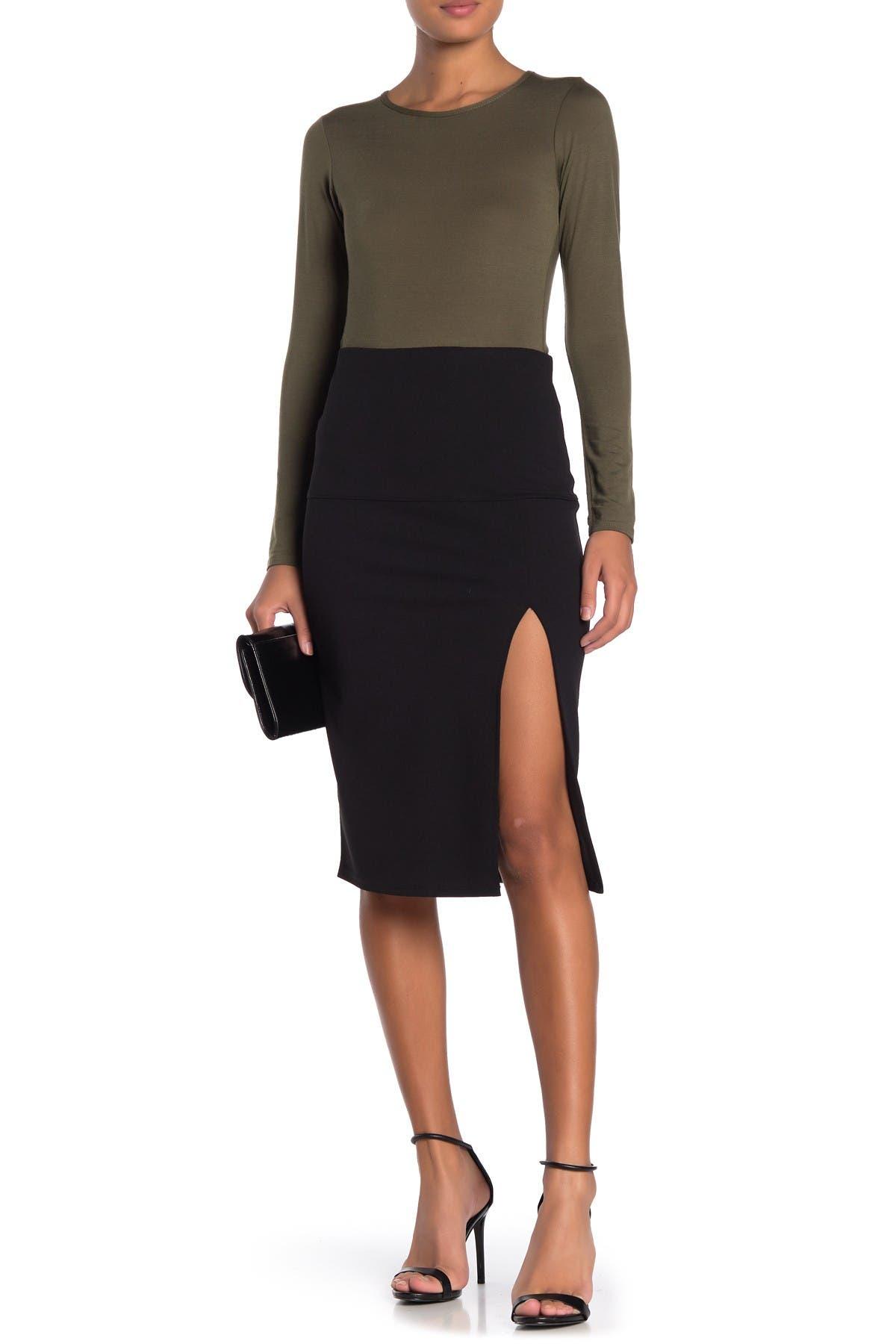 Image of Socialite Side Slit Pull-On Skirt