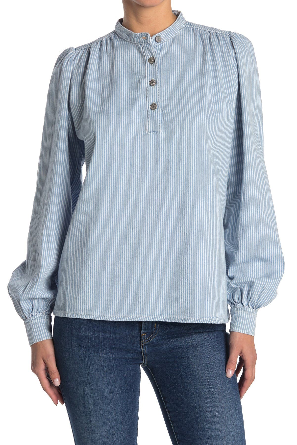 Image of GANNI Striped Denim Button Front Blouse