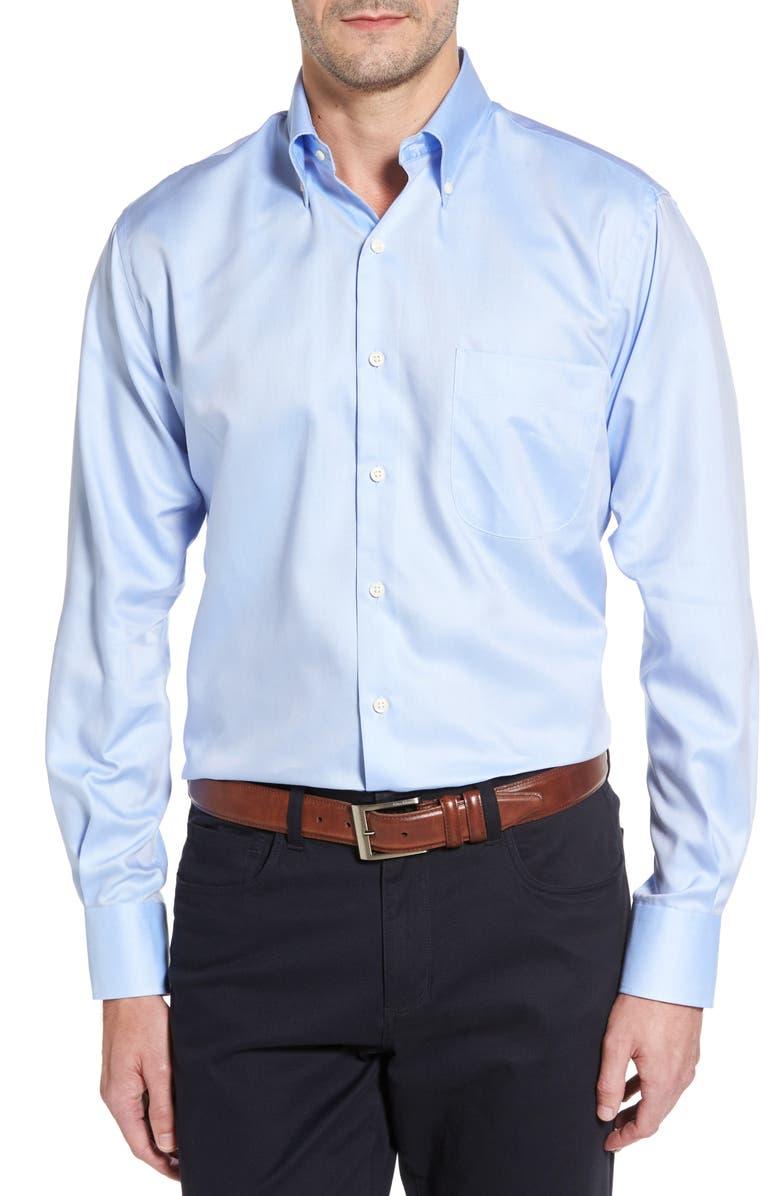 PETER MILLAR Crown Soft Pinpoint Regular Fit Shirt, Main, color, WATER'S EDGE